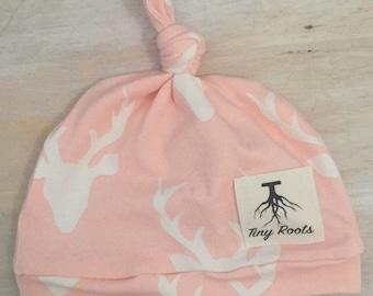 Infant top knot beanie/ infant hat/photo prop