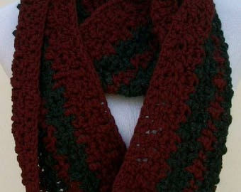 Crochet Cowl, Burgundy and Charcoal Cowl, Handmade Neck Warmer, Crochet Neck Dress, Cold Weather Scarf, Crochet Infinity Scarf ..