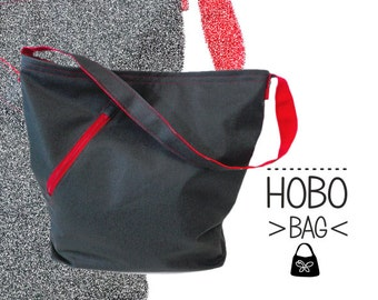 Black Red hobo bag. Washable fabric bag. Simple lightweight.