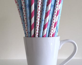 Snowflake and Pink Polka Dot and Stripe Paper Straws Frozen Party Supplies Party Decor Bar Cart Cake Pop Sticks Mason Jar Straws Graduation