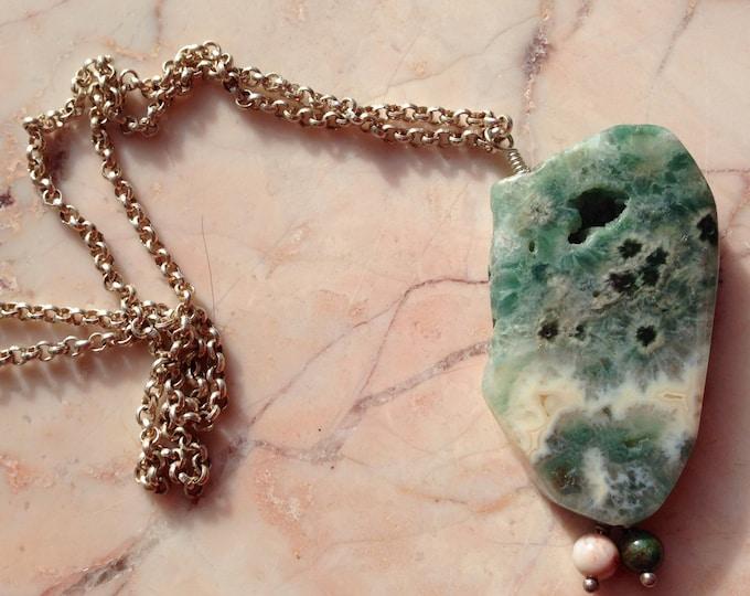 Handmade Ocean Jasper Slice Necklace