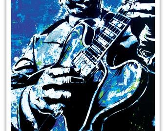 "12 x 18"" - B.B. King art print - B.B. King poster - blues music poster - guitar poster - bb king playing guitar pop art print - blue - blues"