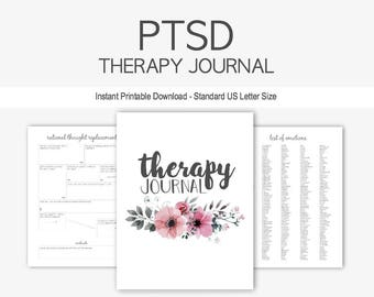 PTSD Therapy Journal: Mental Health, Trauma, Abuse, Depression, Anxiety, Counseling, Panic, Fear, Assault, Instant Printable Download