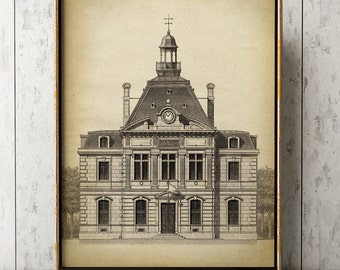 Architecture print, Architecture poster, architectural drawing, architect gift, building print, homestead print