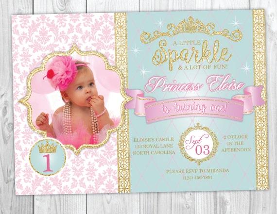 Princess Birthday Invitation, Princess Birthday Party, First Birthday Princess Invite