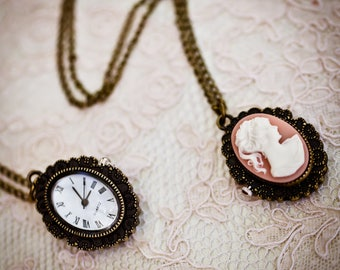 Cameo Pocket Watch Necklace (The Victoria Pocket Watch)