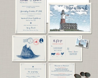 Destination wedding invitation Montauk New York illustrated wedding invitation coastal lighthouse Illustrated invitation Deposit Payment