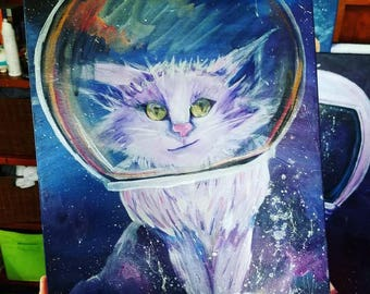 Limited Print-Hand Detailed Print-Space Cat