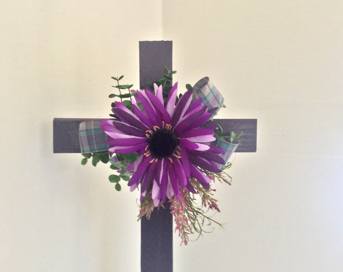 Cemetery cross, purple floral memorial, grave decoration, memorial cross, Floral Memorial, grave marker, in memory of, memorial flowers