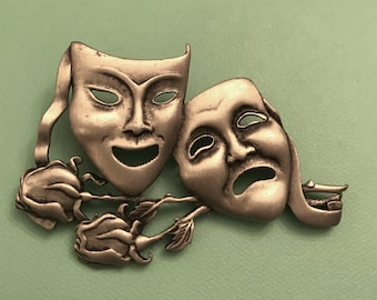 Vintage JJ Jonette Silver Tone Pewter Tone Comedy and Tragedy Two Masks Theater Brooch