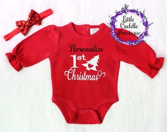 Personalized Christmas Red One Piece, First Christmas Cutie Shirt, First Christmas Outfit, Holiday Picture Outfit, Christmas Outfit