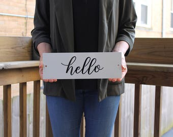 Hello Sign, Metal Hello Sign, Metal Sign, Laser Cut Metal Sign