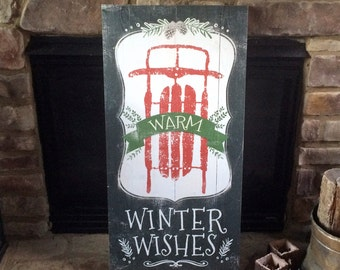 "Warm Winter Wishes Holiday Christmas Sled Pine Cone Charcoal Wood Sign Art 18x36"" - Made in USA"