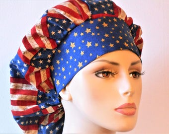 Scrub Hats Patriotic Flags Bouffant Medical Scrub Hat-Scrub Caps-Holiday Scrub Hats-SilverCaps-Womens Scrrub Hats-Bouffant Caps-Handmade-USA