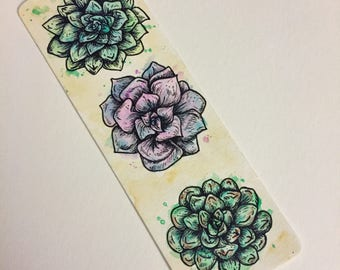 Watercolor Succulent Bookmark