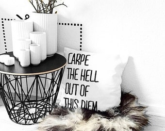 Carpe The Hell Out of This Diem Black and White Throw Pillow Covers By Pencil Me In // Funny Pillow Lol