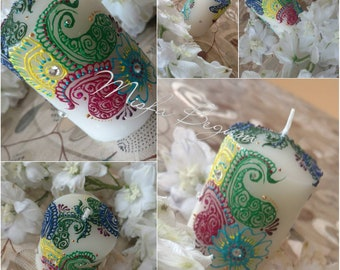 Colourful Henna Candle