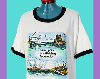 Vintage New York Sport Fishing Federation T Shirt XL Extra Large White Ringer Tee Made In USA Xpress Knits Long Island Deep Sea Fishing 80s