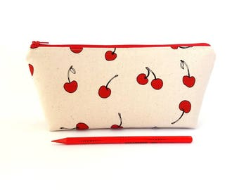 Pencil case, Cherry pencil case, Fruit pencil bag, Zipper pencil pouch, College student pencil bag, Student gift, Flat bottom pencil bag