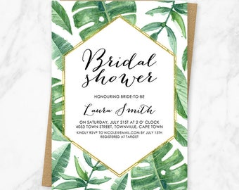 Tropical Bridal Shower Invitation, Palm Tree Bridal Shower Invitation, Palm Leaves, Tropical, Summer Bridal Shower Invitation, Printable