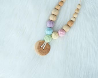 Pastel Rainbow Button Teething Necklace - Juniper Wood