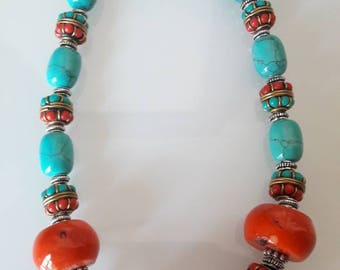 NECKLACE Tibetan coral and Turquoise