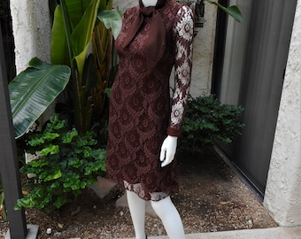 Vintage 1960's Emma Domb Brown Lace Dress - Size 4