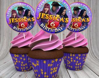 Descendants birthday cupcake toppers, Descendants 2 labels, Descendants party,  Descendants circle labels, Descendants circles, Diy, Mel