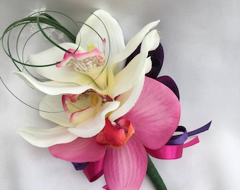 Artificial Wedding Flowers, Ladies Pin on Corsage, Buttonhole, Butonniere, with Purple, Pink and Cream Orchids, Beargrass