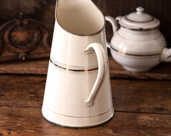 1940s French Enamel Water Pitcher  - Japy - Ivory and Gold - Shabby Chic Decor
