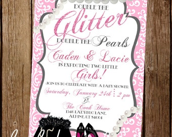 Glitter & Pearls Baby Shower Invite