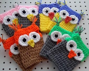 Cute Owl Fingerless Gloves Pattern