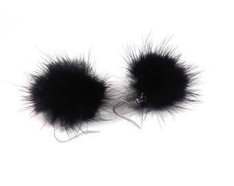 Pair of black tassel earrings