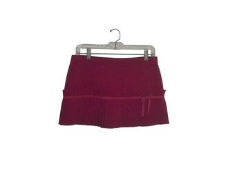 Red Pleated Mini Skirt