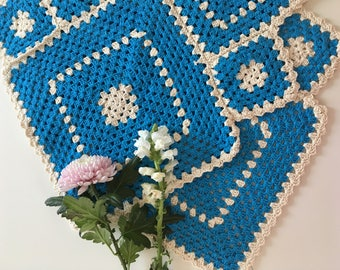 Blue and White Triangles Rug