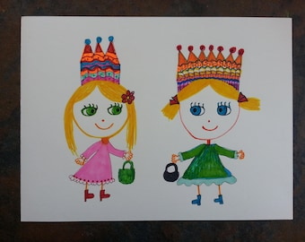 "1 Princesses marker drawings on paper  8x11""Very cute"