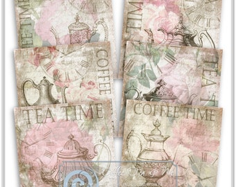 Digital Collage Sheet - Coffee and Tea Coaster Tiles, Printable Images, Decoupage, Card Making, Fabric Transfer, Paper Craft Supplies