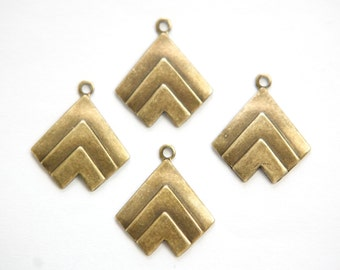 Brass Ox Layered V Charm Pendant with Loop mtl391C