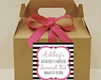 Bachelorette Weekend Survival Kit Boxes, 6 Bridesmaid Favors, Bachelorette Hangover Kit,Bride Tribe, Bachelorette Party Favor