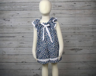 2T Blue Daisy Cotton Pull On Romper