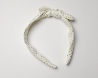 You Pick the Size - Gold Dots Headband - removable bow!