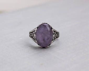 Amethyst Ring. Antique Silver or Antique Brass