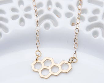 Honeycomb Necklace - Gold Honeycomb Necklace - Beekeeper Necklace - Honeycomb Jewelry - Bee Necklace - Geometric Necklace - Hexagon Necklace