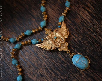 Egyptian Revival Necklace. Winged Serpent. Scarab. Beaded. Egyptomania. Tutmania.  Flapper. Jazz Age. Art Deco.