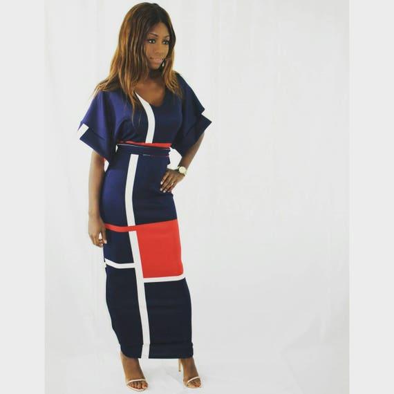 Lena Colour Block Navy Full Length Dress