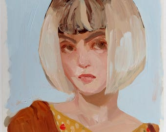 """Portrait of a Girl with Bleached Hair -  Original oil painting // Oil Paint on Duralar - 11"""" x 9"""""""