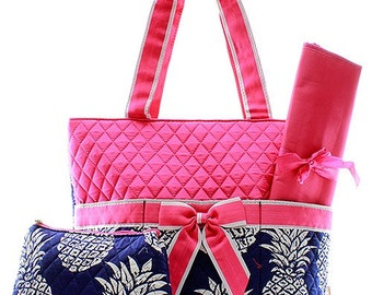 Large Pineapple Print Monogrammed Diaper Bag Hot Pink Trim