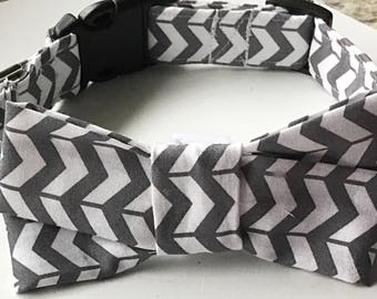 Gray and White Chevron Bow Tie Collar for Male Cats and Dogs