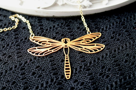 Golden dragonfly necklace fantasy filigree geometric insect forest woodland