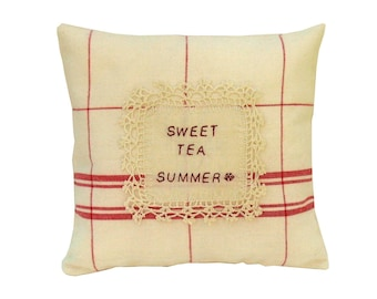 """Decorative Accent Pillow """"Sweet Tea Summer"""" Pillow in Red and Off White, Country Cottage Farmhouse Decor"""
